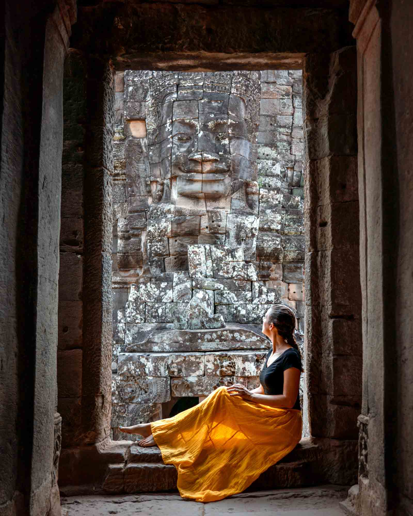 Bayon Face framed by doorframe