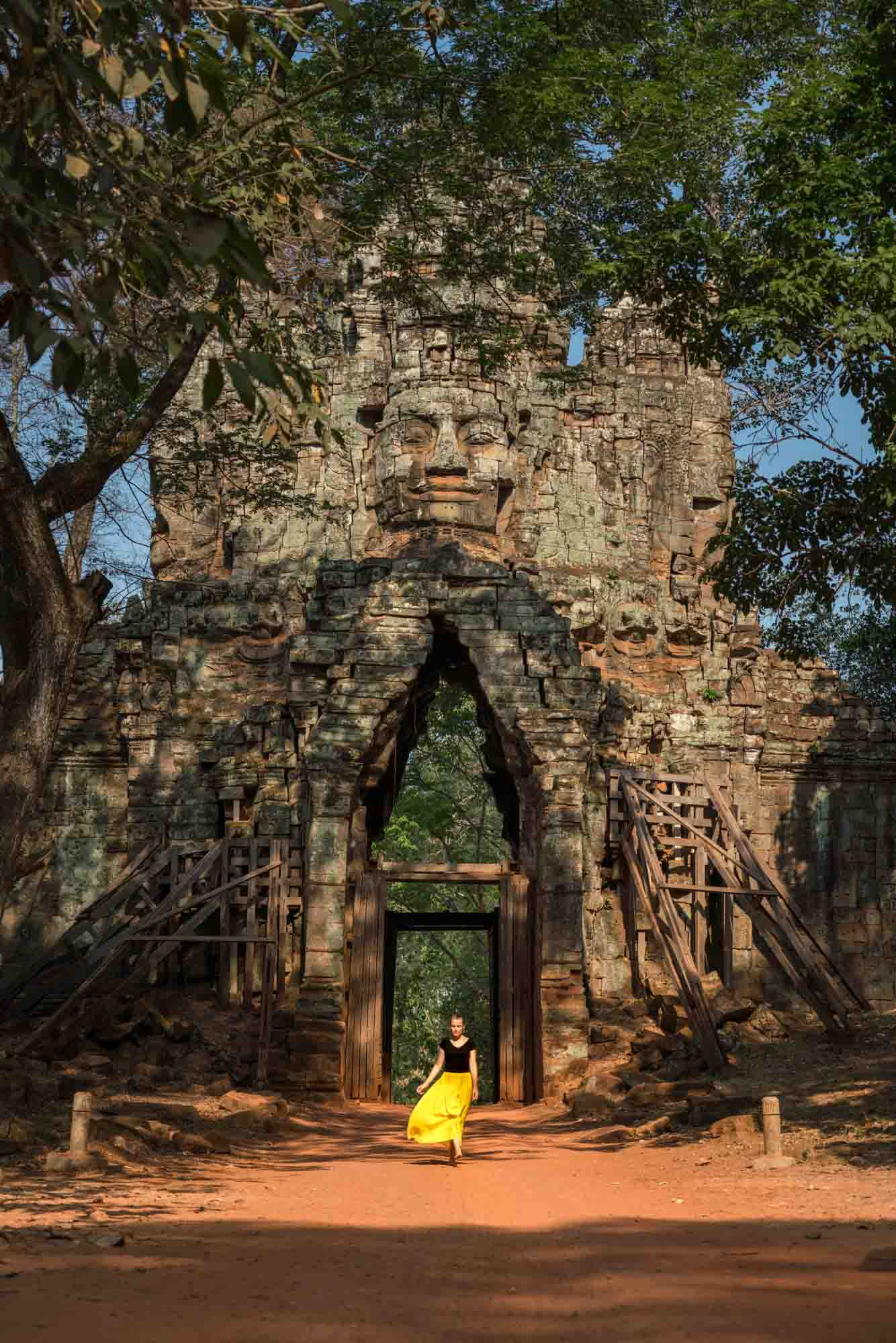 8:37am - Morning light on the lesser known East Gate Entrance to Bayon.