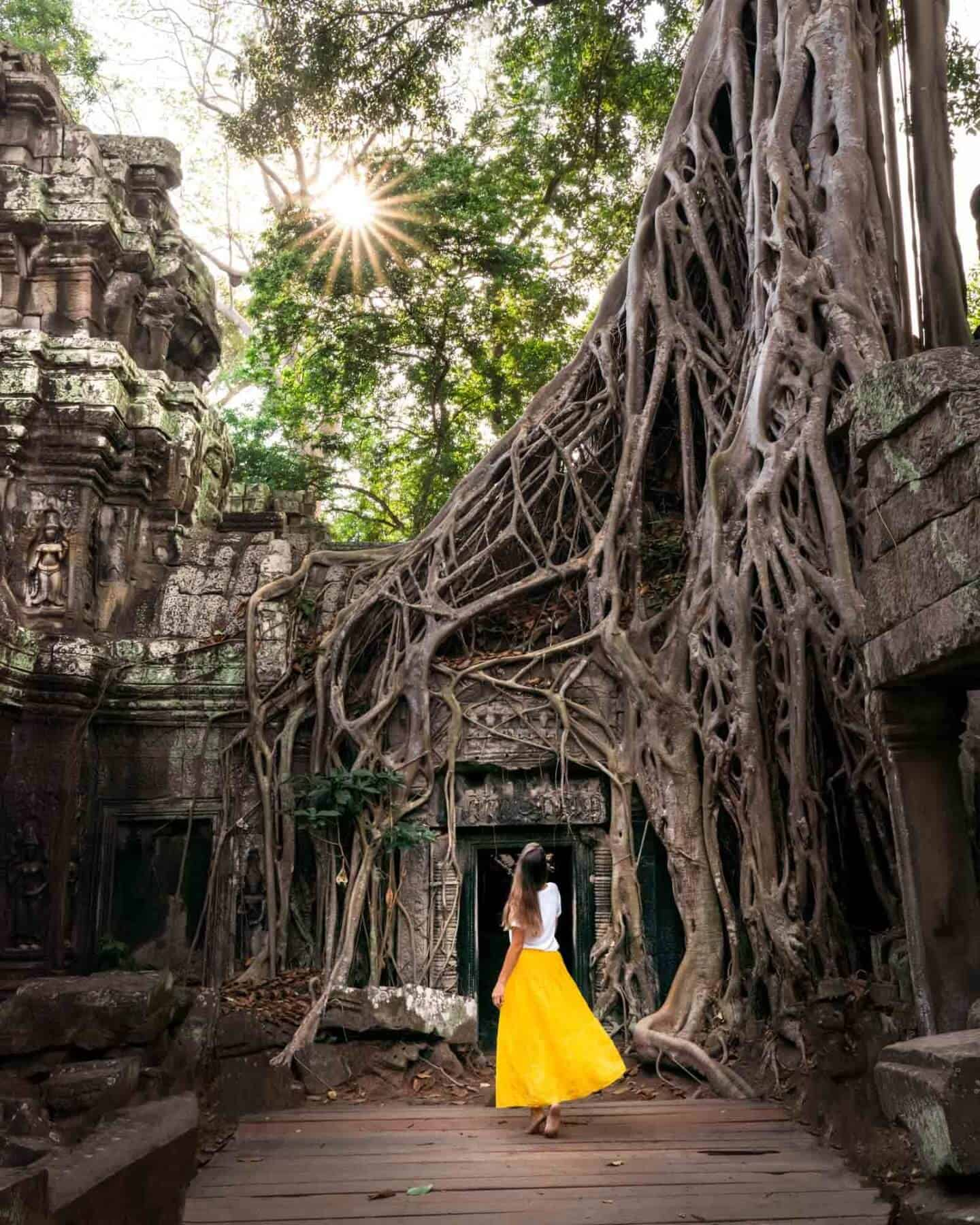 A photo from Ta Prohm temple showing @travelsofsophie in a yellow dress