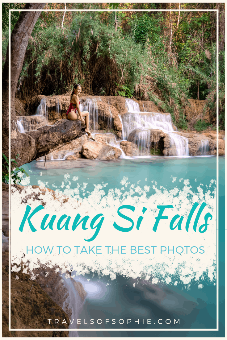 Kuang Si Falls: How to take the best photos. A complete photography guide, sharing all our tips and tricks to get the best photos of these famous waterfalls in Laos. #kuangsi #kuangsifalls #laos #photoguide #instagramguide