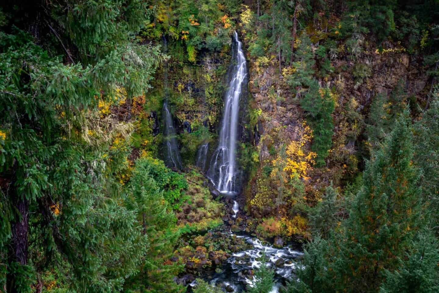 Barr Creek Falls in the Fall, as seen from the Prospect State Scenic Viewpoint.