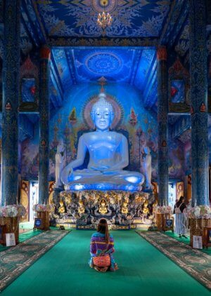 The interior of the Blue Temple in Chiang Rai, Thailand.