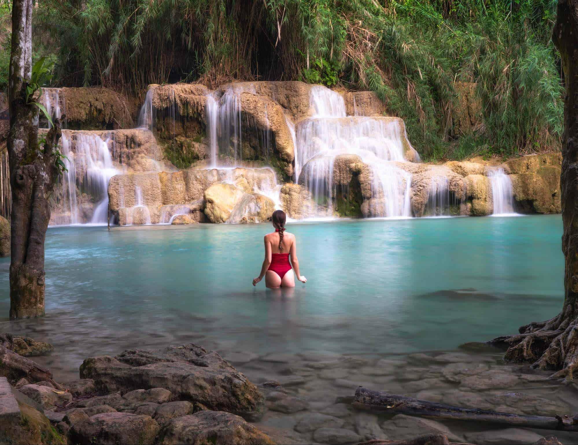 Travels of Sophie swimming at Kuang Si Falls