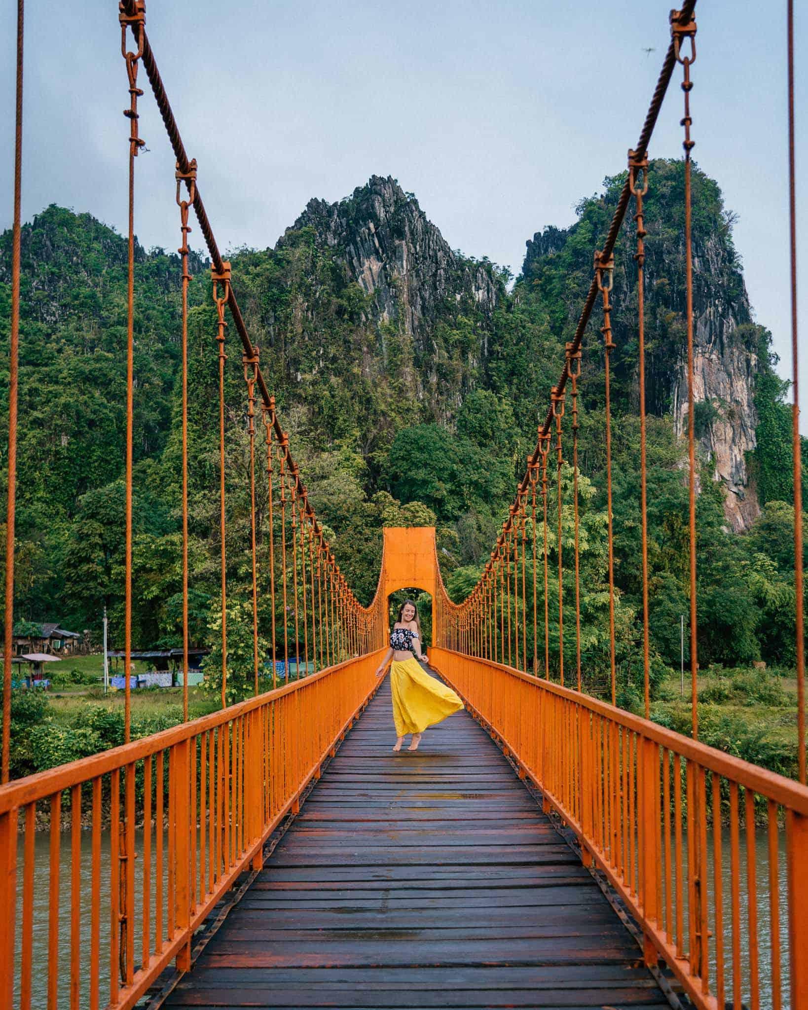 Nam Song Pedestrian Bridge Vang Vieng Photos