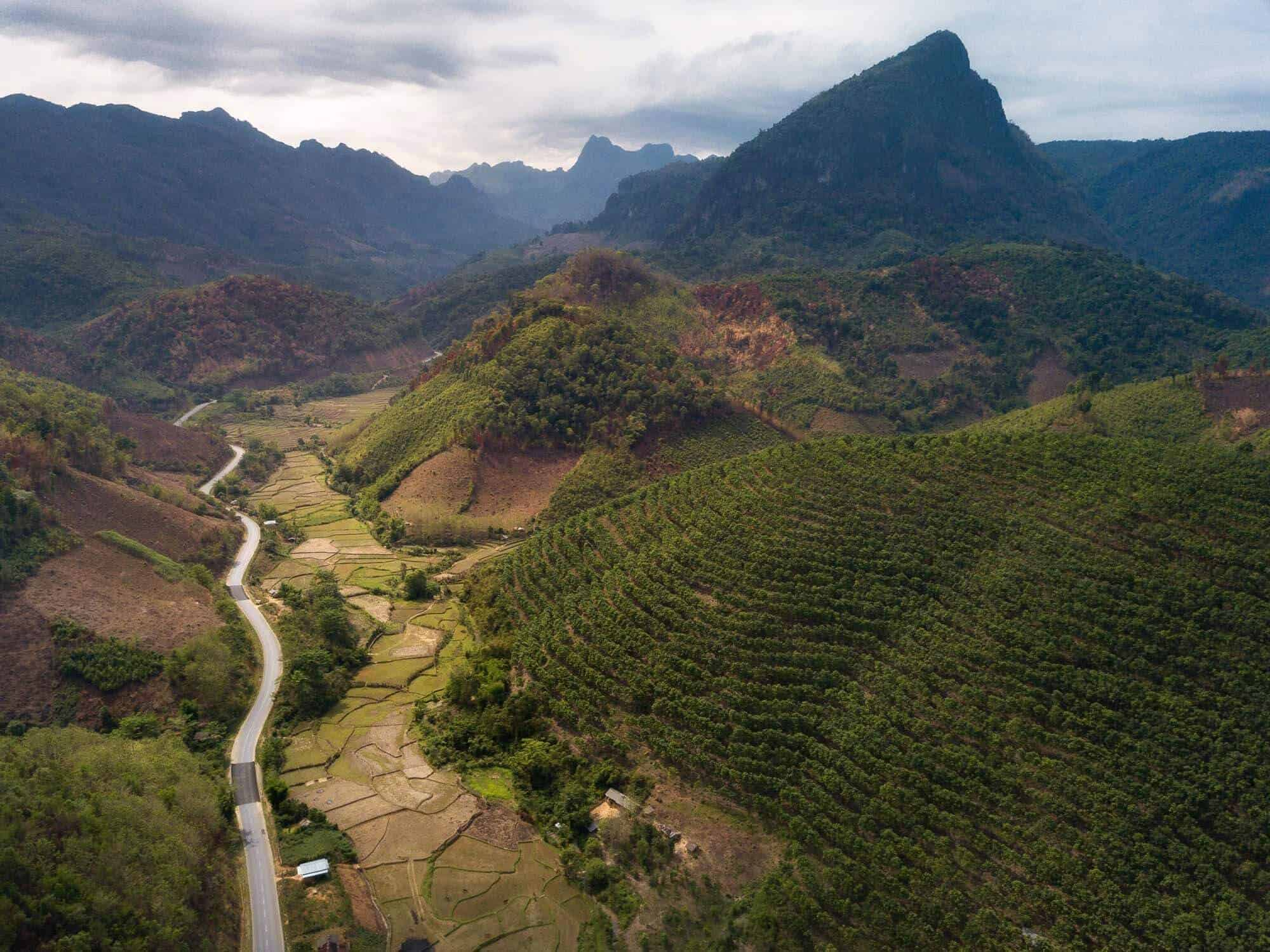 A drone photo of Route 4 and the stunning Laos countryside