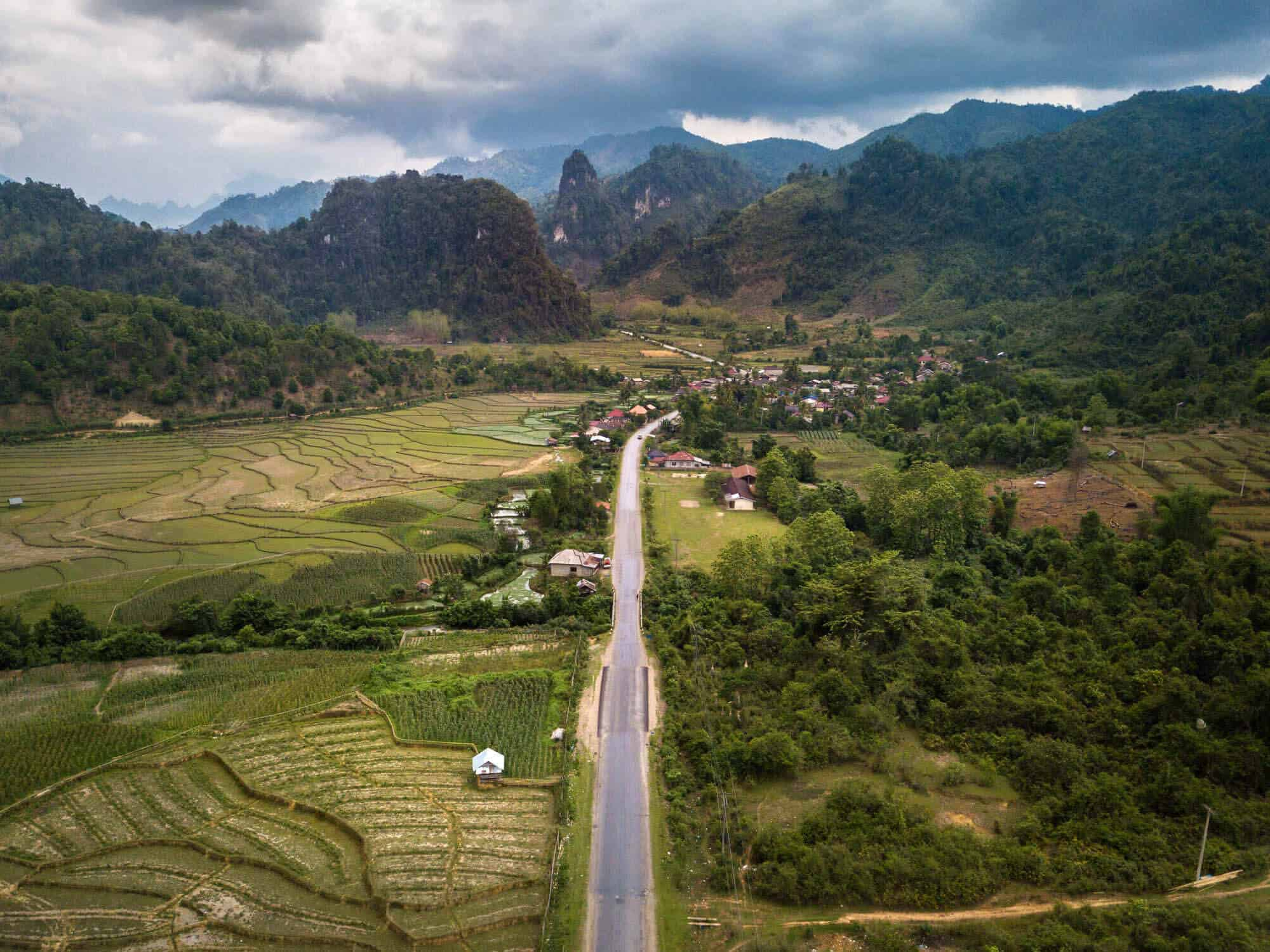 An aerial view of Route 4 connecting Luang Prabang and Vang Vieng in northern Laos