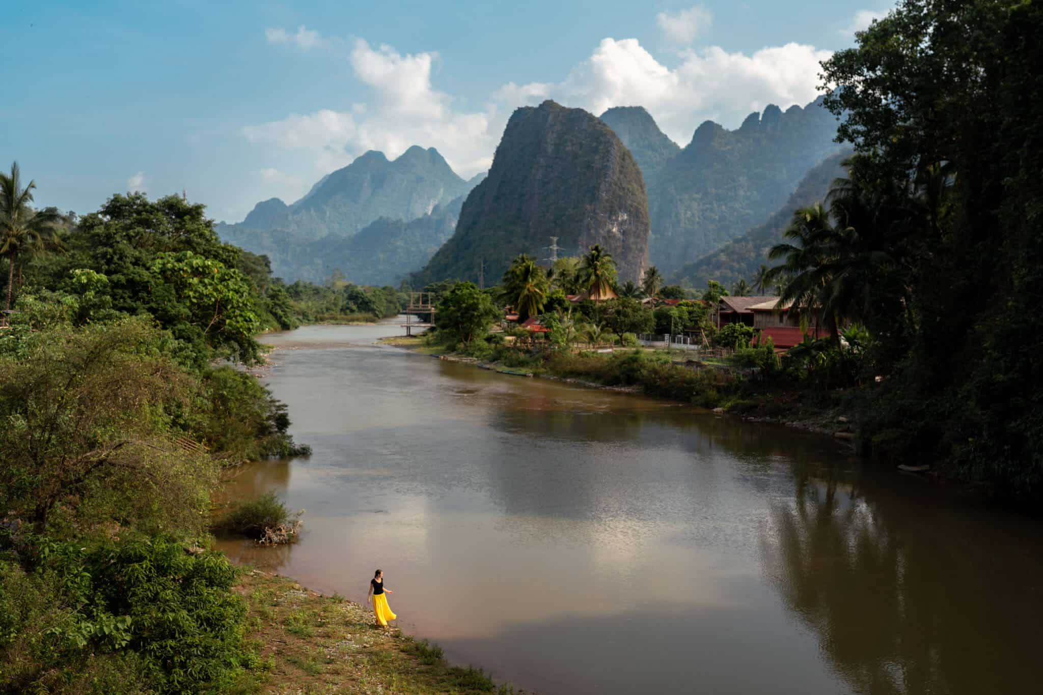 View from Pha Tang Bridge Vang Vieng Photos