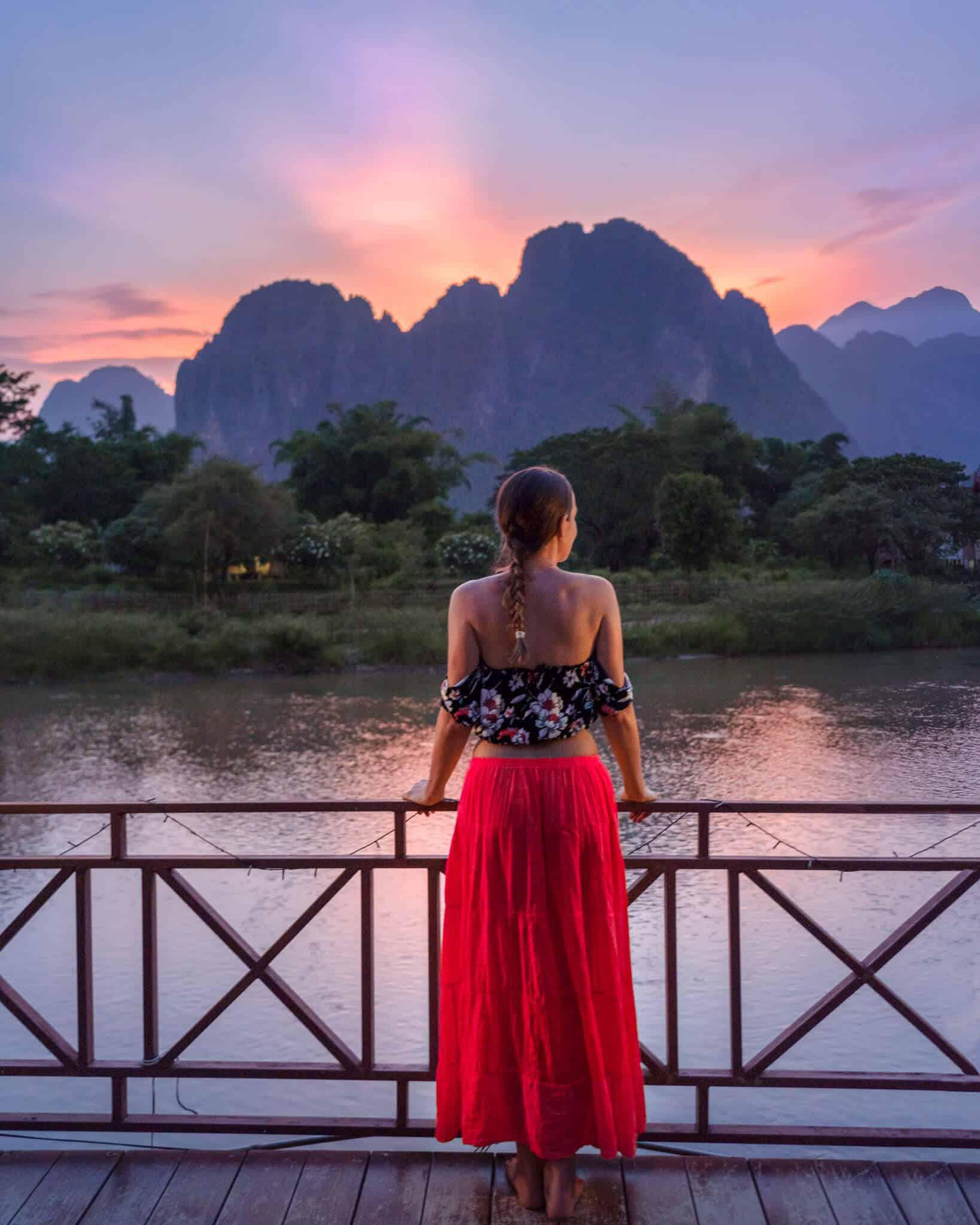 Sunset at Silver Naga Resort Vang Vieng Photos
