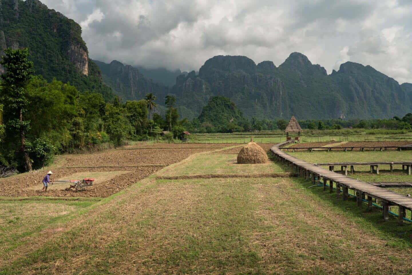 A photo of the rice fields in Vang Vieng during dry season in Laos