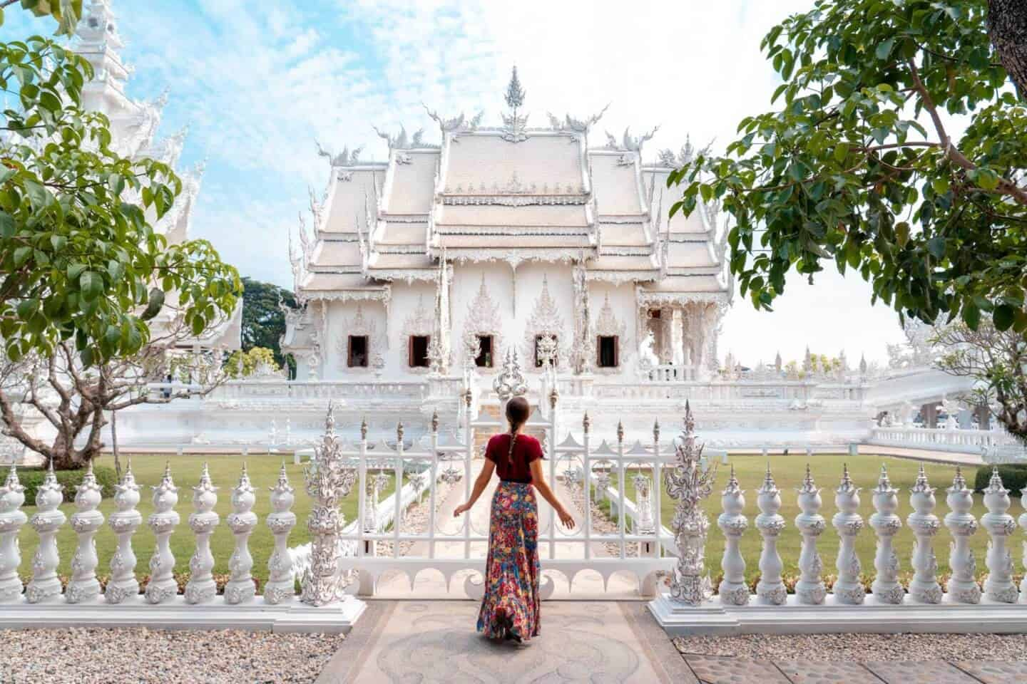 A seldom-seen side view of the White Temple in Chiang Rai.