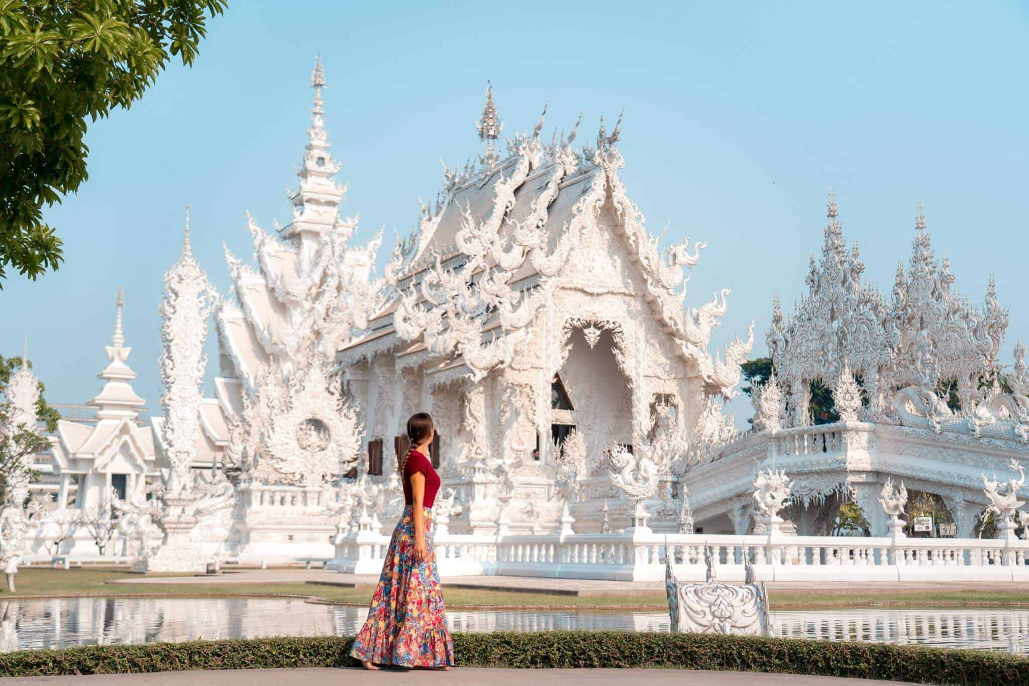 An angular view of the magnificent White Temple of Chiang Rai, as seen by Travels of Sophie.