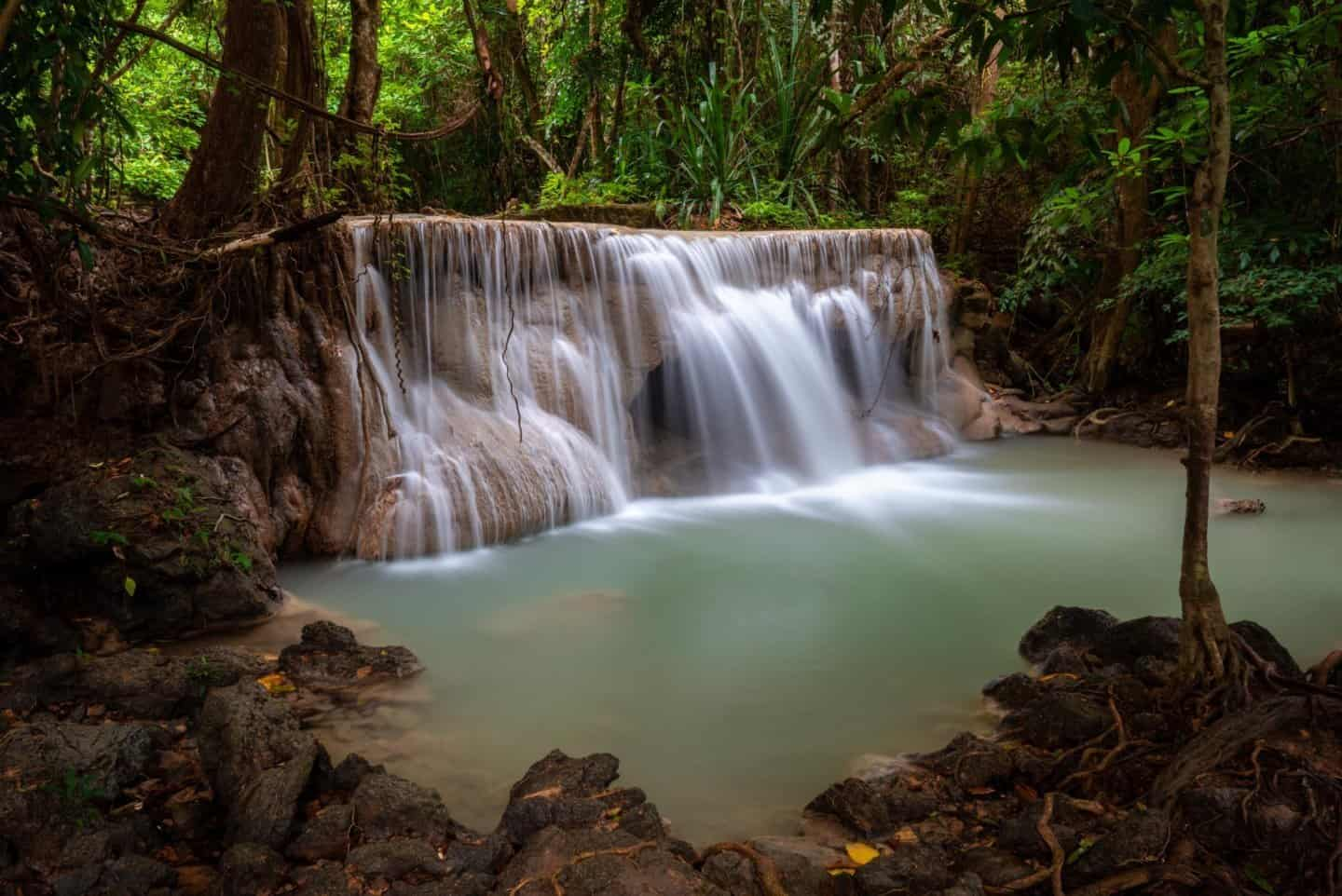 A long exposure of one of the lower levels of Huay Mae Khamin Falls
