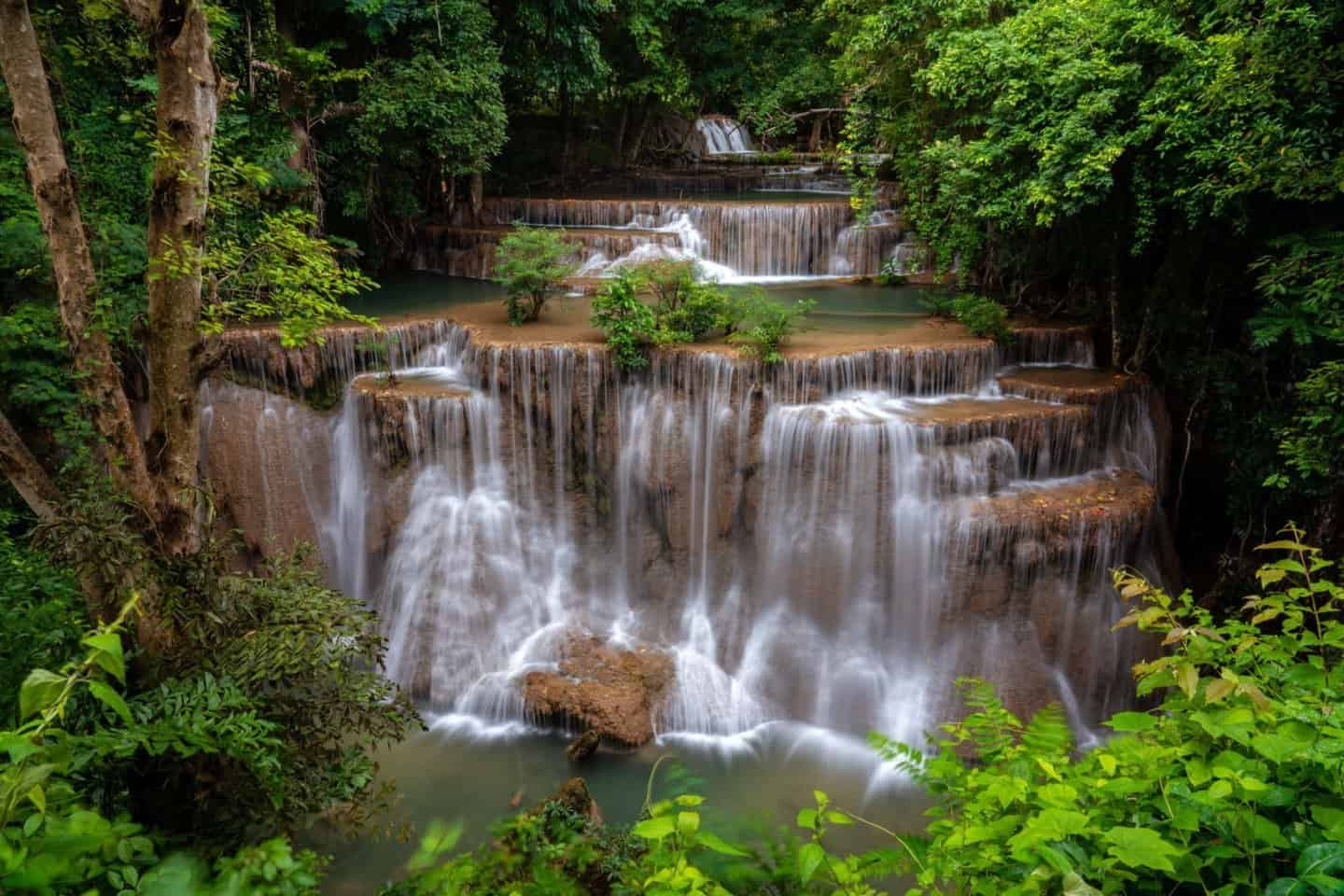 Tier 4 (Chat Kaew) is the highest drop at Huay Mae Khamin Falls