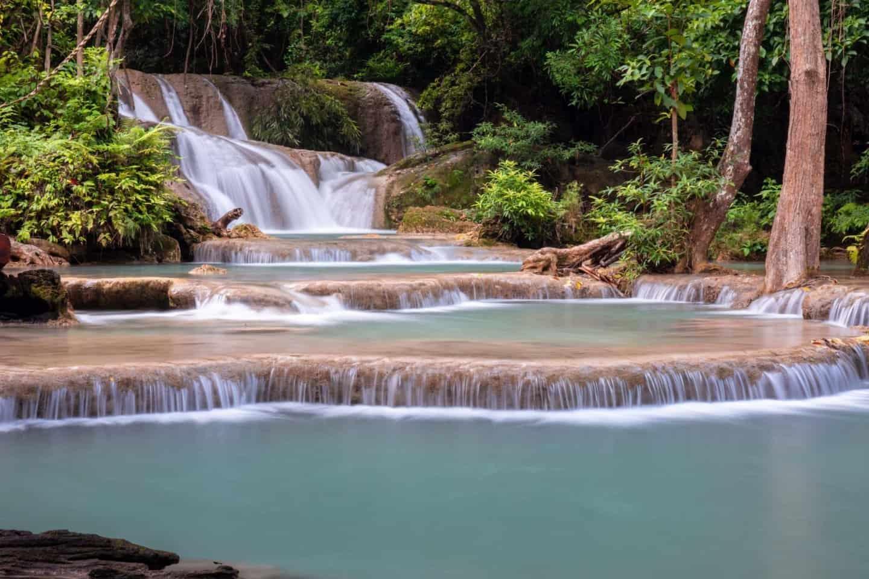 Tumbling falls at Huay Mae Khamin Waterfall Thailand