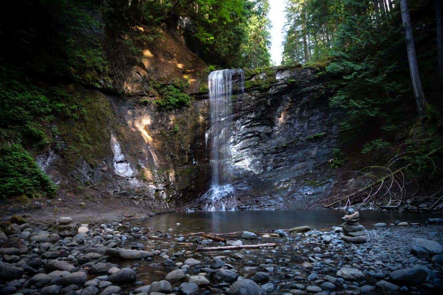 Whats left of the Ammorite Falls in the summer season outside Nanaimo