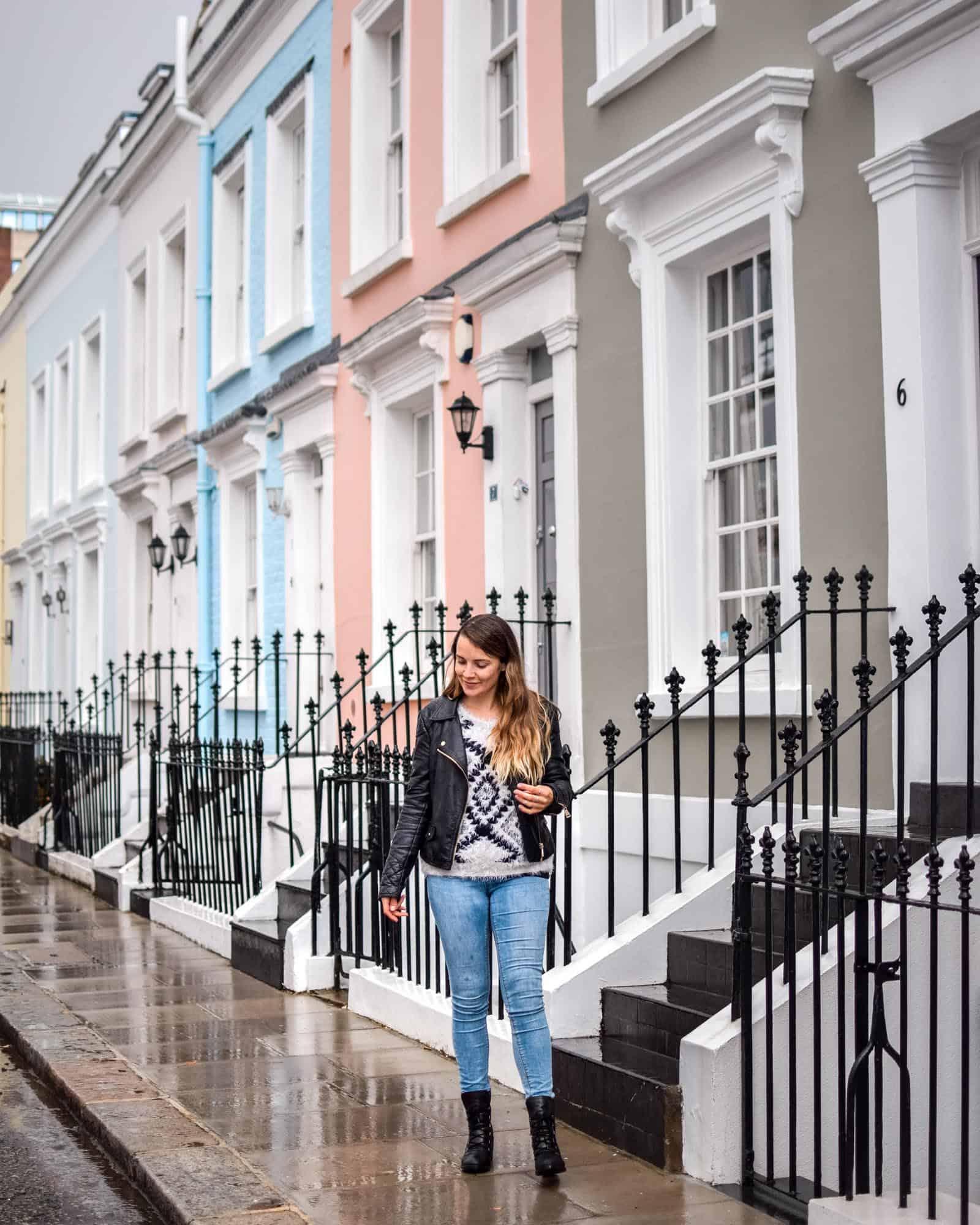 Calcott Street Notting Hill on a rainy day