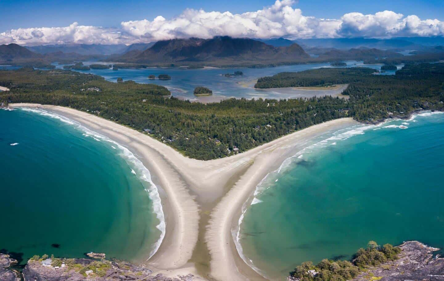 The perfect hourglass shapes of Chesterman Beach in Tofino is truly appreciated from the sky!
