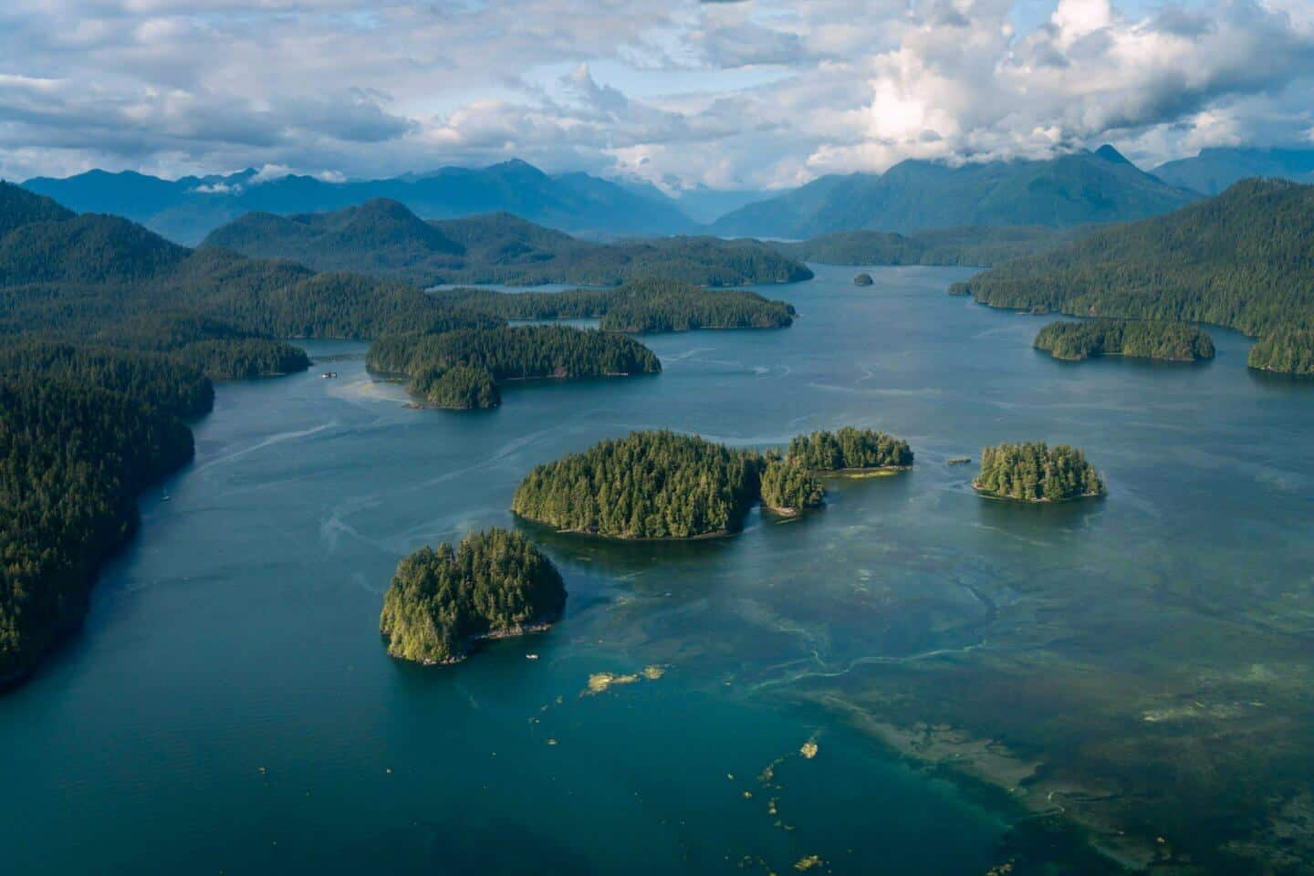 A view of the infinite islands of the Clayoquot Sounds high above Tofino.