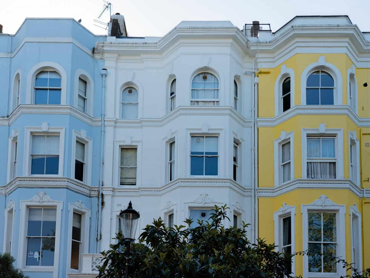 Colvile Terrace colorful houses Notting Hill London