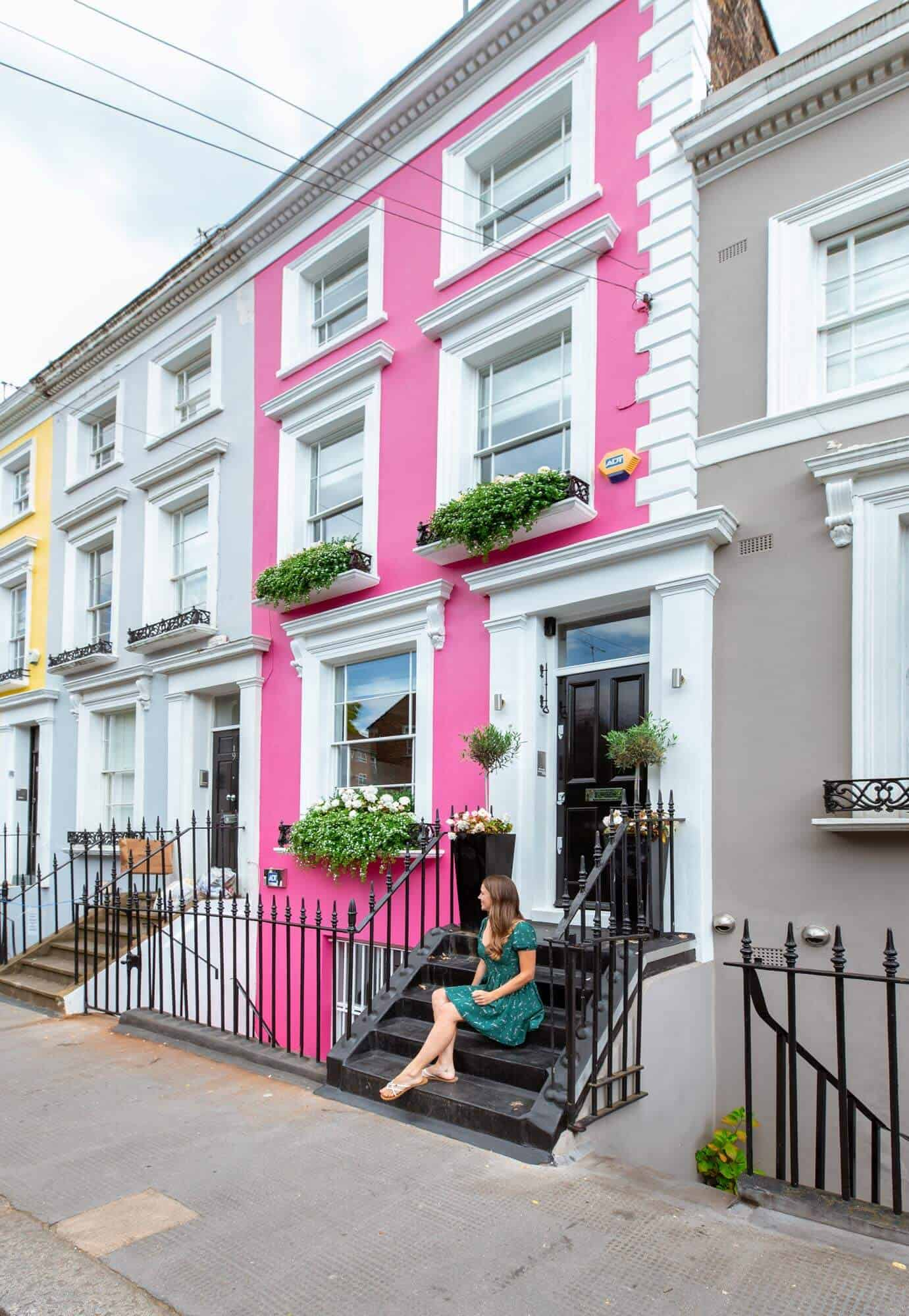 Colourful houses on Denbigh Terrace, Notting Hill, London