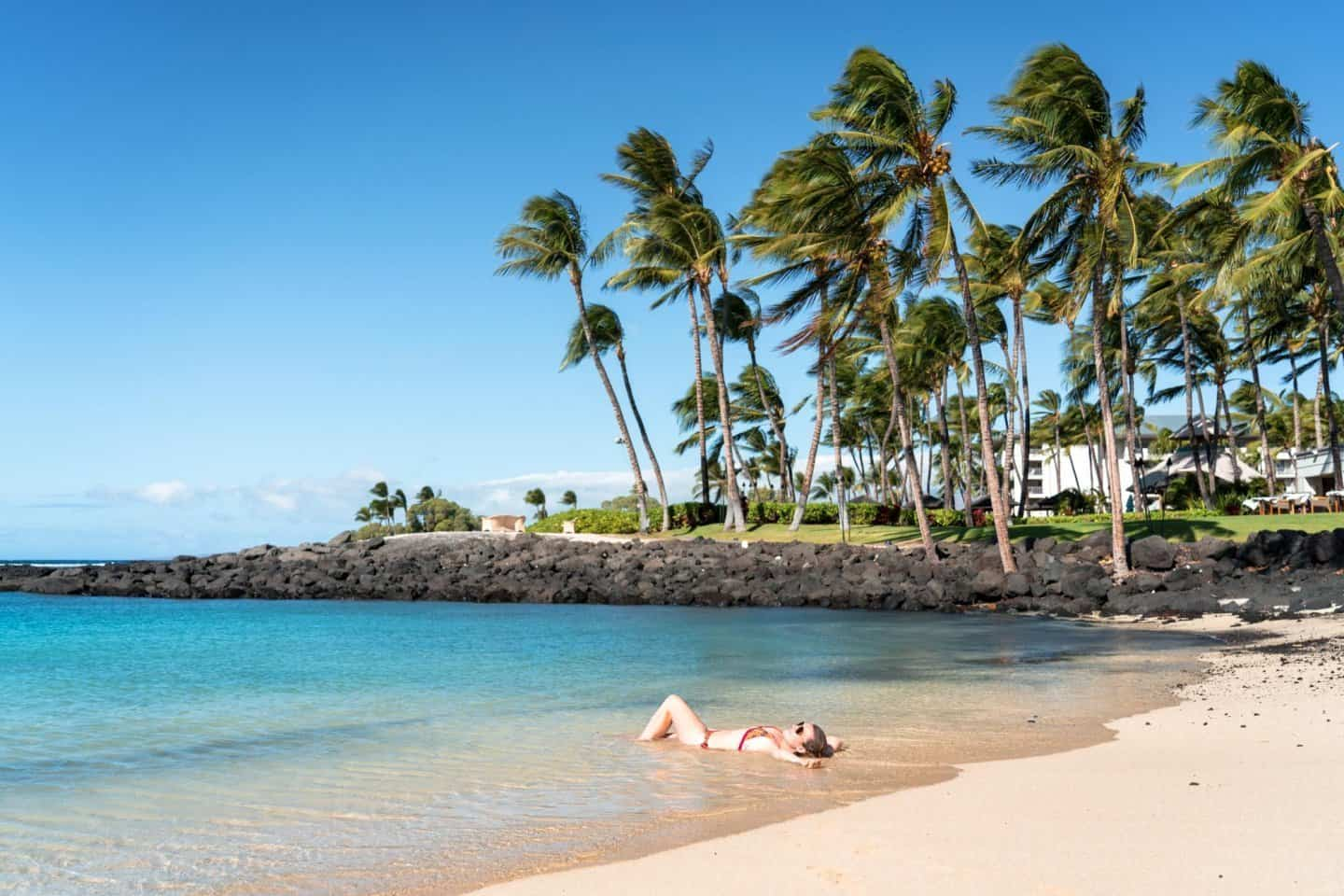 The softest, most pristine beaches on the Big Island are at the hotels.