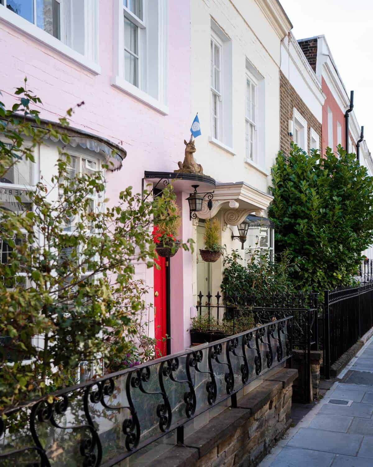 Pastel colored houses of Farmer Street, Notting Hill, London