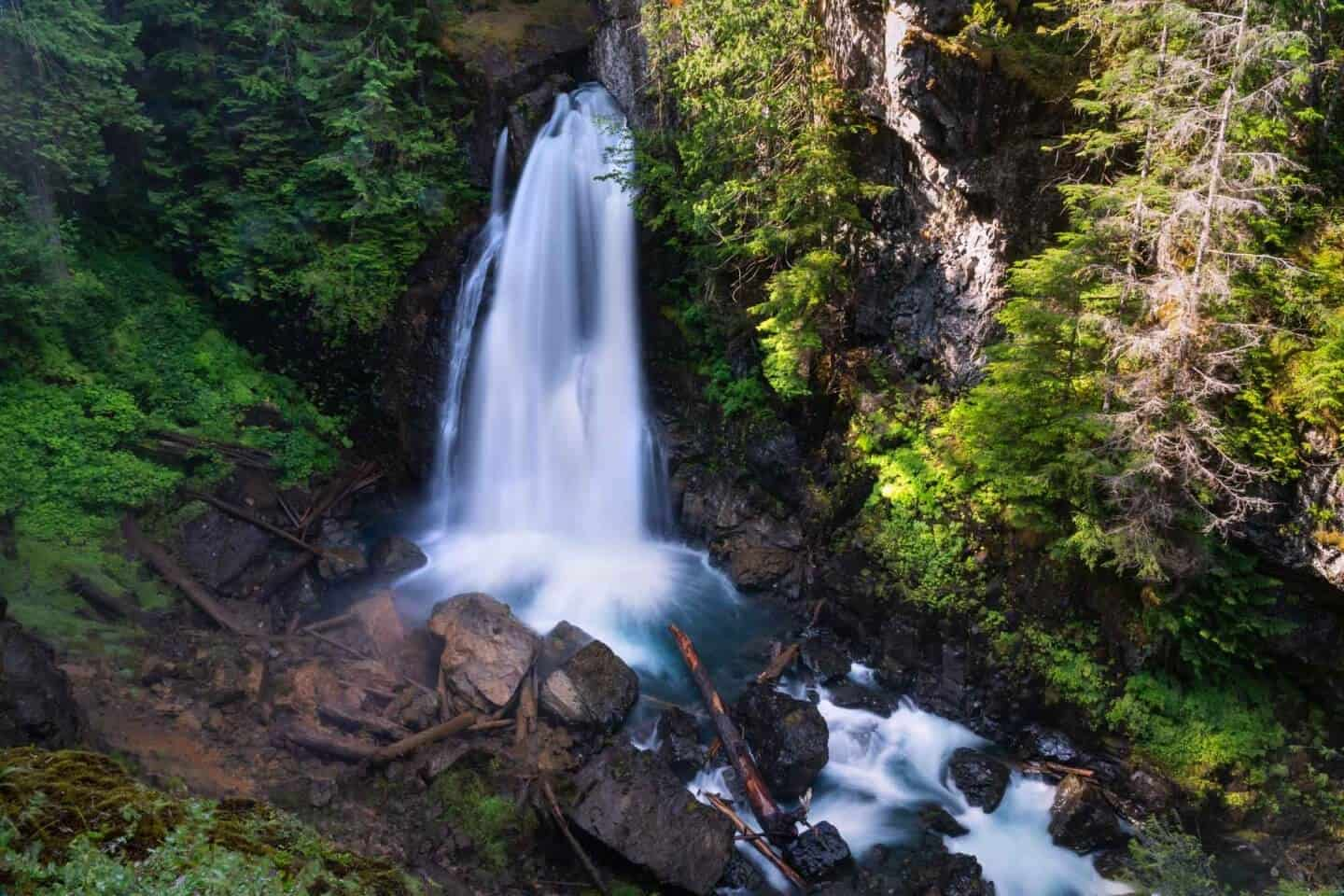 The large, misty Lady Falls is the first compelling reasons to take the Gold River Highway through Strathcona Provincial Park on a Vancouver Island road trip.