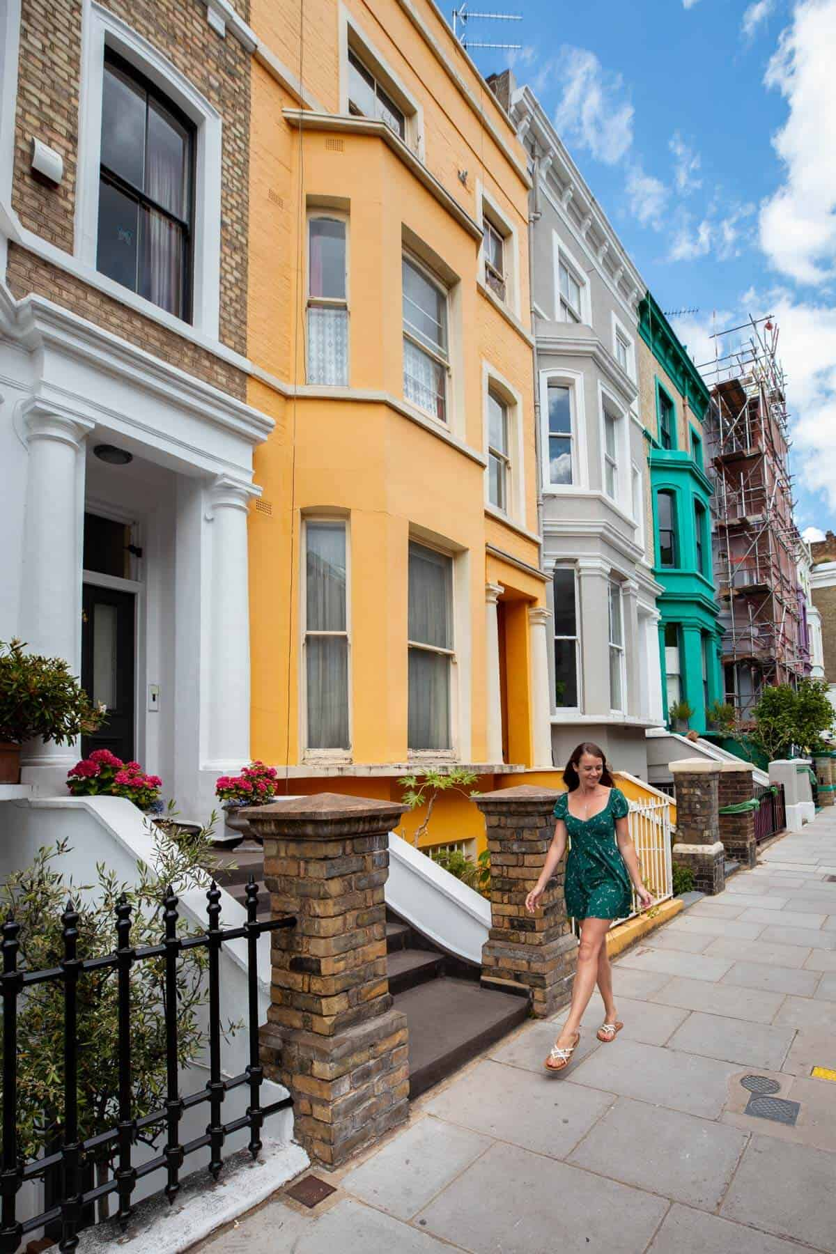 Brightly coloured houses in LAncaster Road, Notting Hill, London