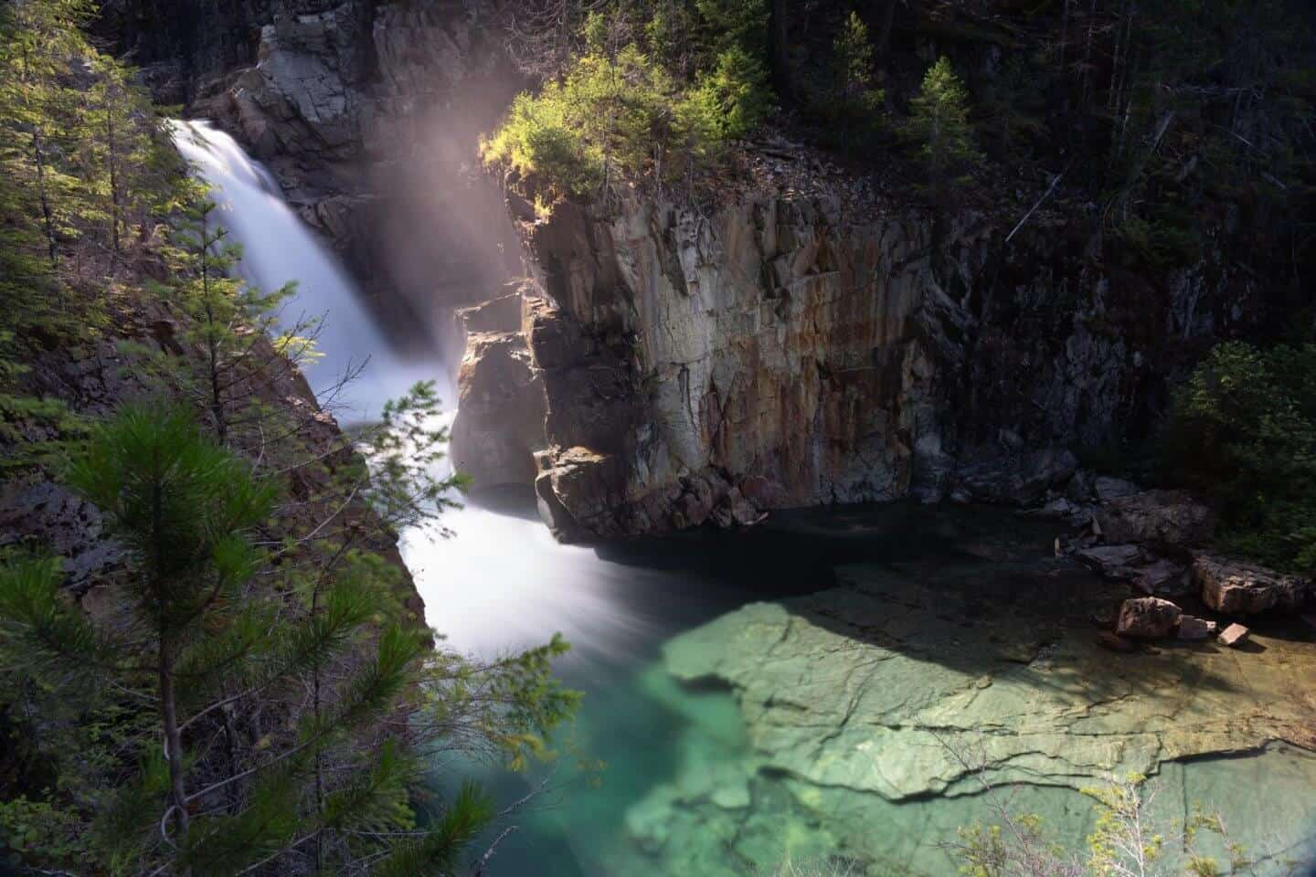 The Upper view of the mighty Lower Myra Falls in Strathcona