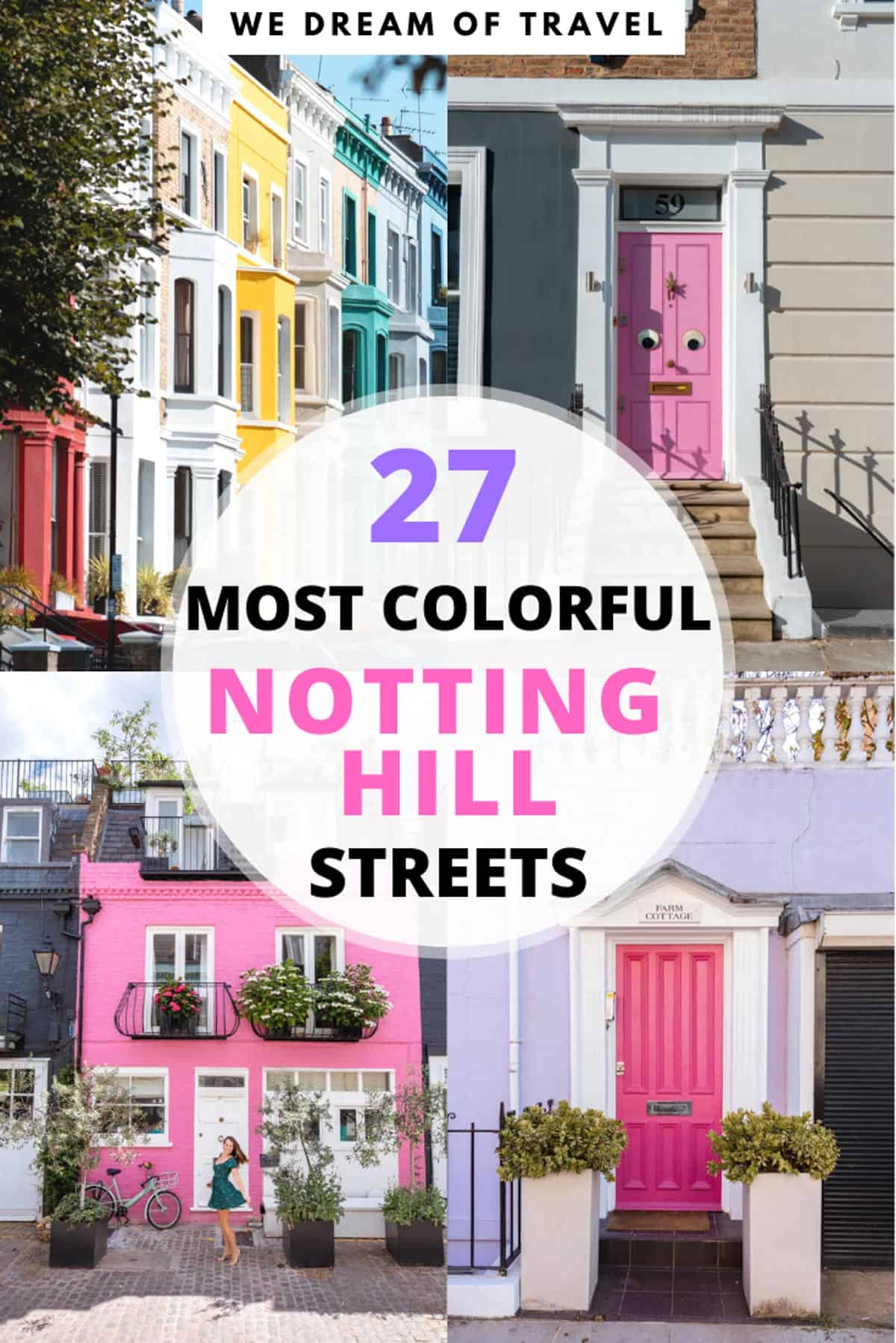 An Instagram guide to the most beautiful colorful houses in Notting Hill, London. This travel guide will help you plan your visit to Notting Hill. #photographyguide #nottinghill #london #travelguide