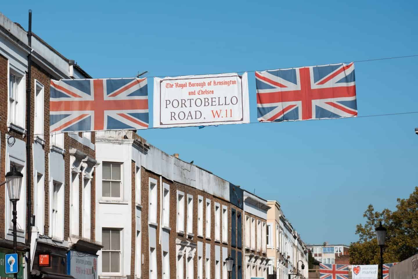 British Flags over Portobello Road Market, Notting Hill, London
