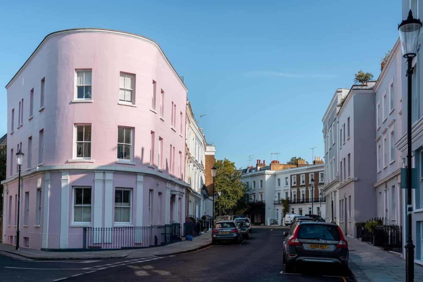 Pink house on the corner of Pottery Lane and Penzance Place