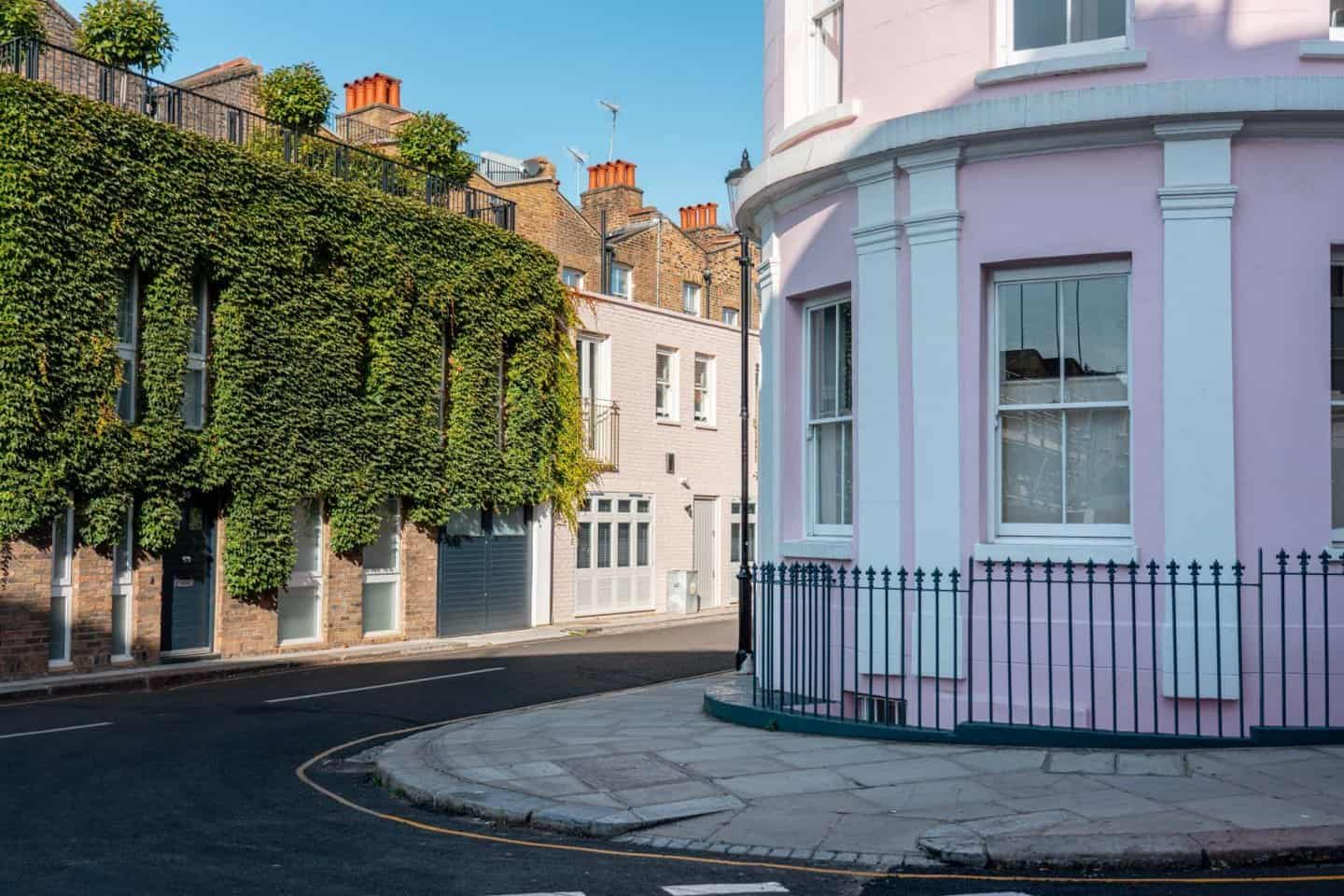 Pretty pink house in Notting Hill London