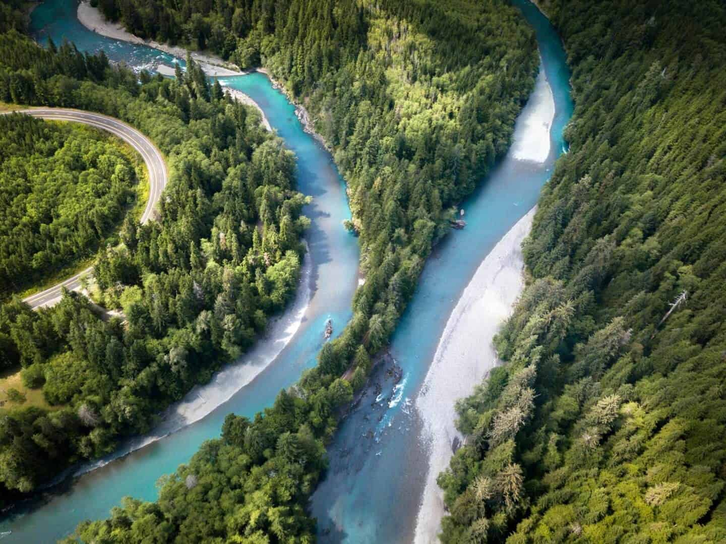 Aerial photography of the Queets River, Olympic National Park, Washington