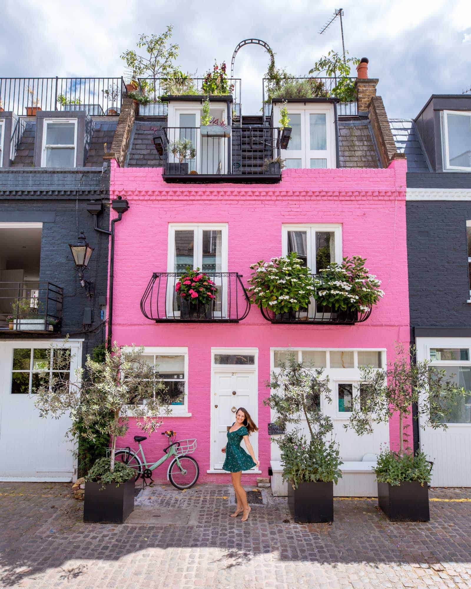 One of the most instagrammed houses: the colorful St Lukes Mews, Notting Hill, London