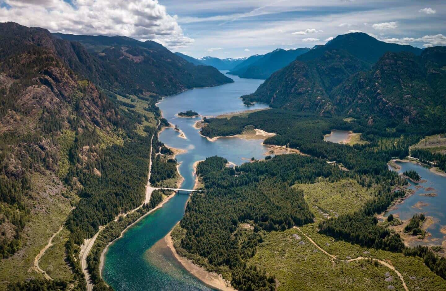The entrance to Strathcona Provincial Park as seen from the skies!