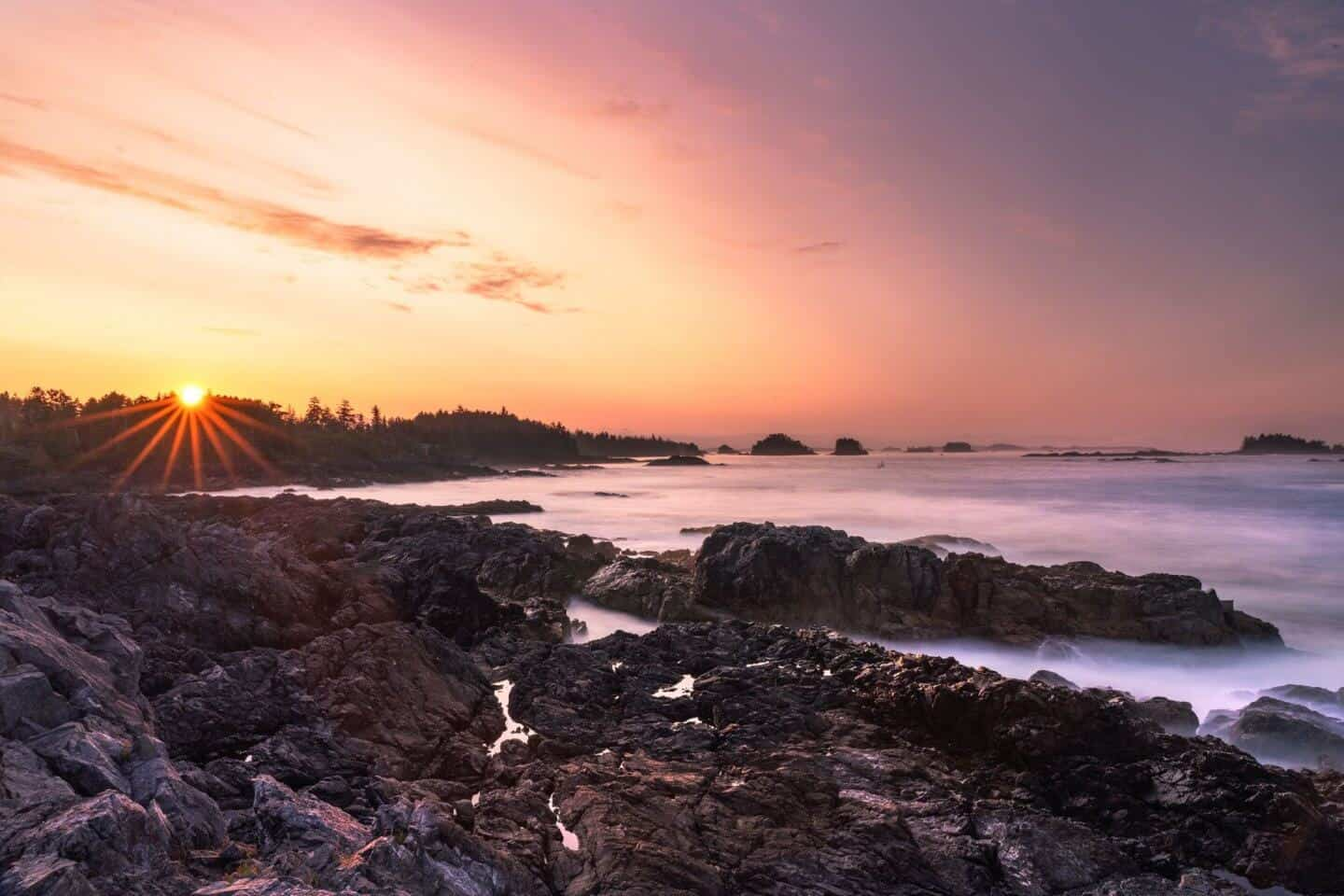A stunning view of the savage Wild Pacific Trail at sunrise
