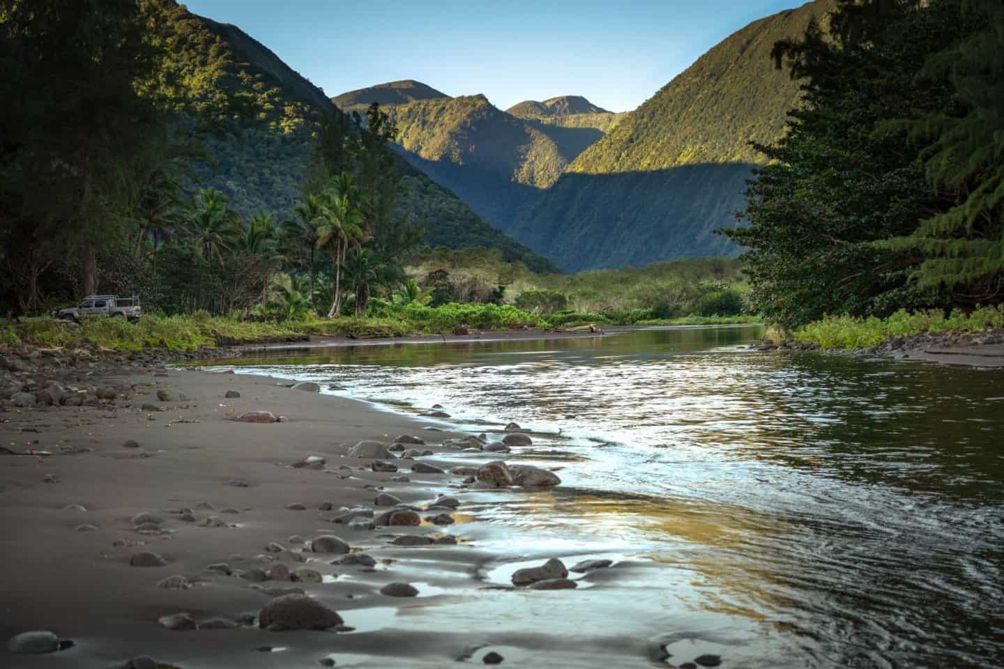 Big island photography location: A view of the Waipio Valley from the remote beach below.