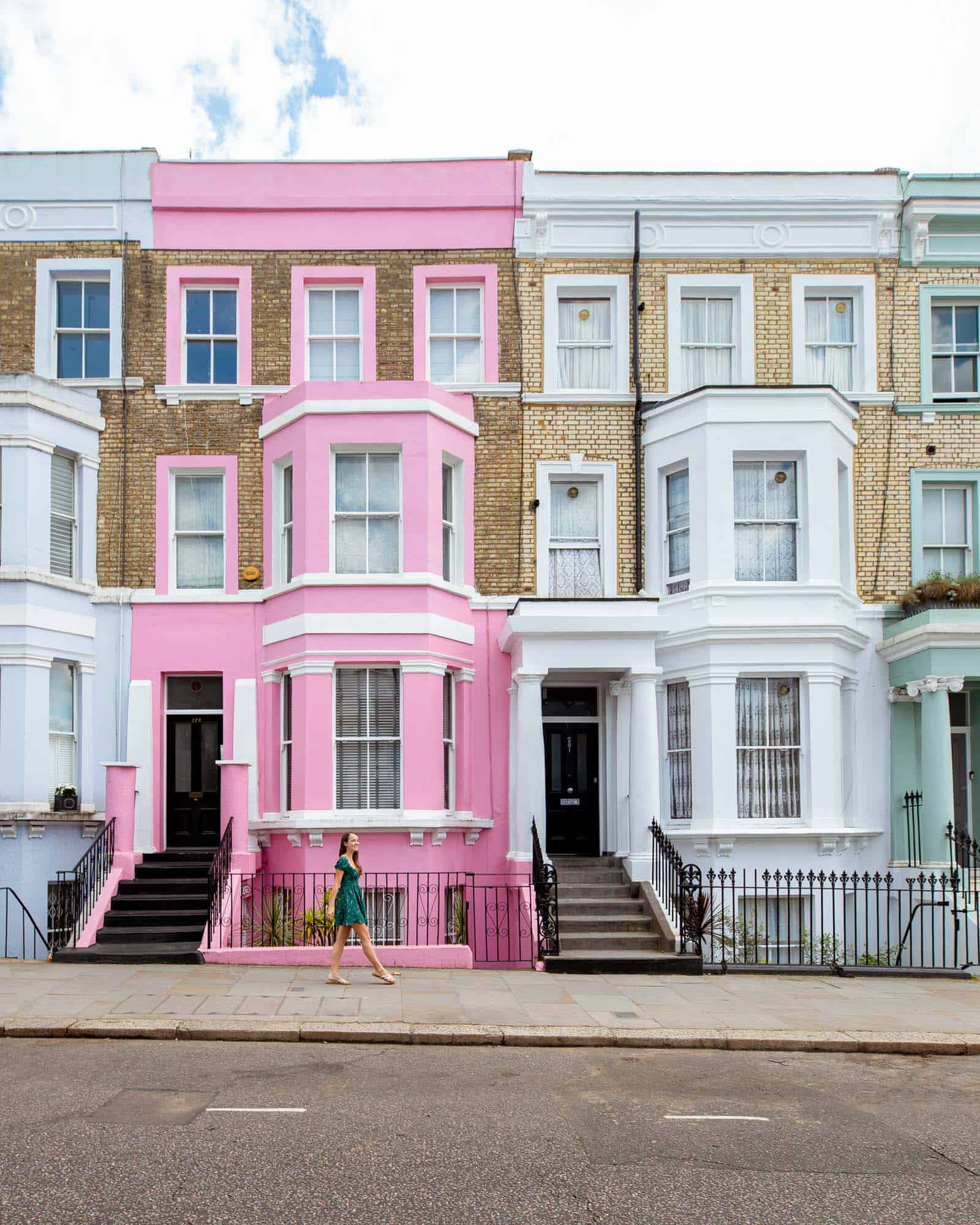 Brightly colored houses of Westbourne Park Road, Notting Hill, London