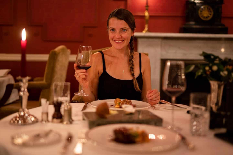 Enjoying the 6-course gourmet tasting menu at Glenapp Castle