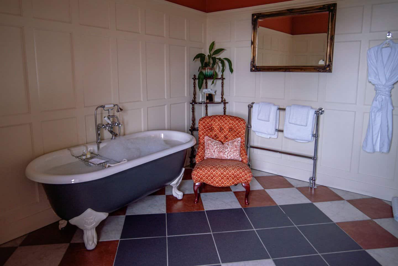 Bath tub ready for a soak at Glenapp Castle