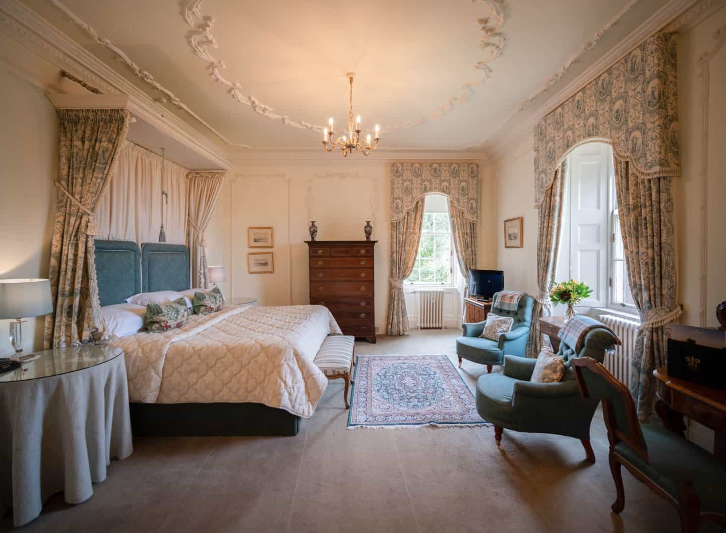 The Countess of Inchcape sea view bedroom at Glenapp Castle