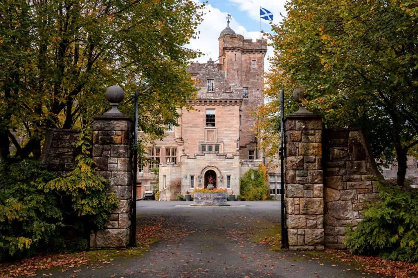 Driveway gated entrance to Glenapp Castle Ayshire Scotland