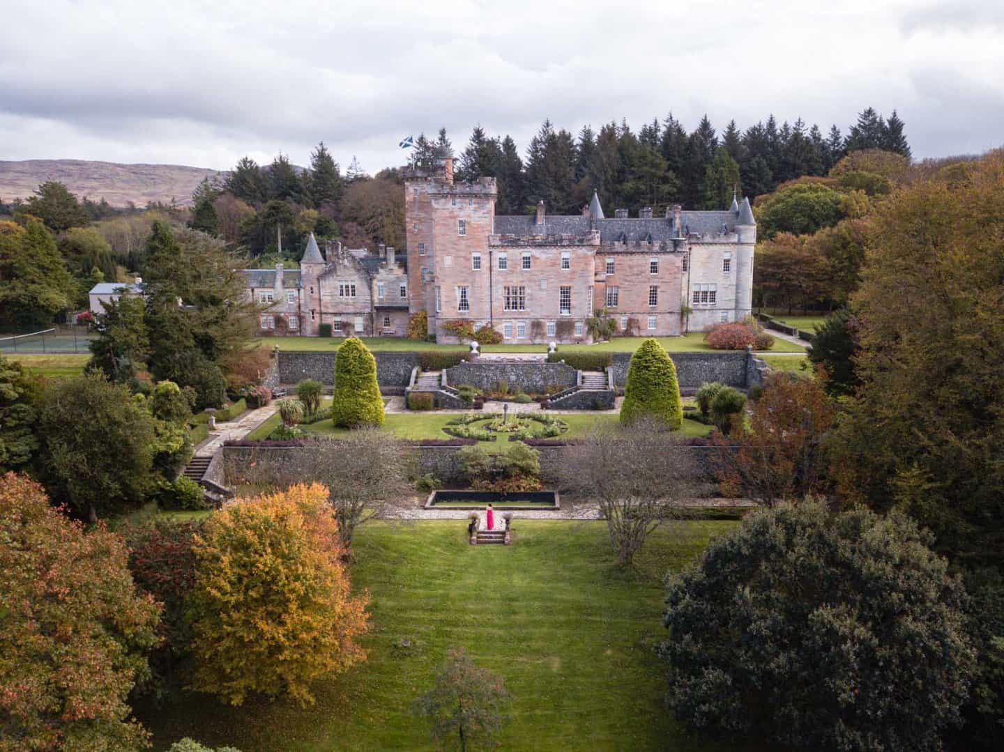 Drone photo of Glenapp Castle and its grounds
