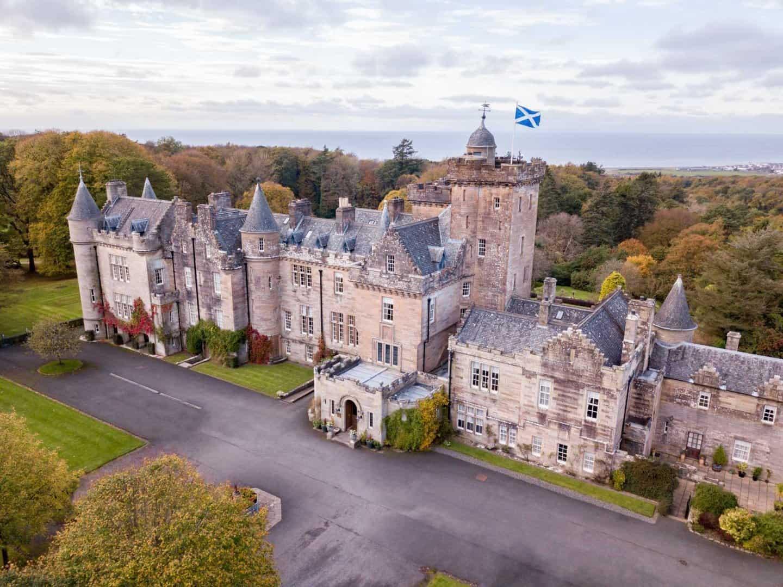 Front of Glenapp Castle seen by drone