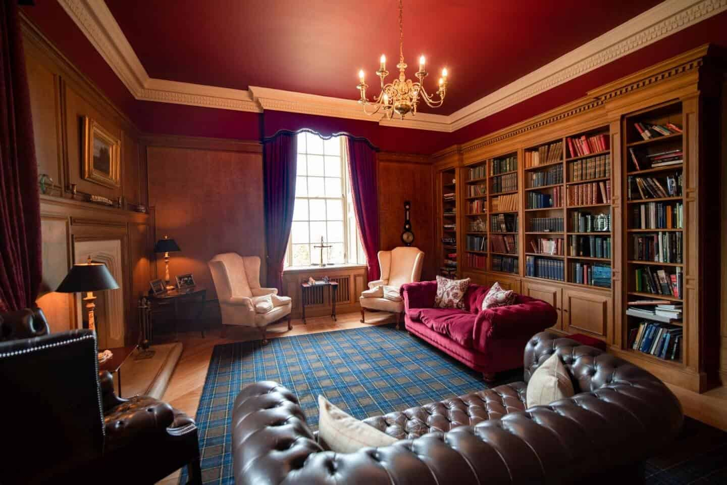 The library at Glenapp Castle