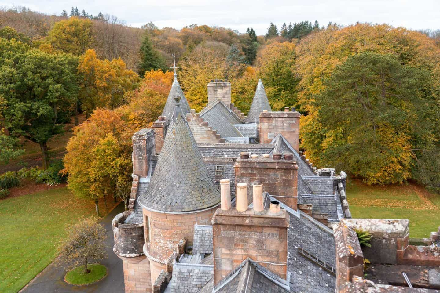 Intricate roof of Glenapp Castle