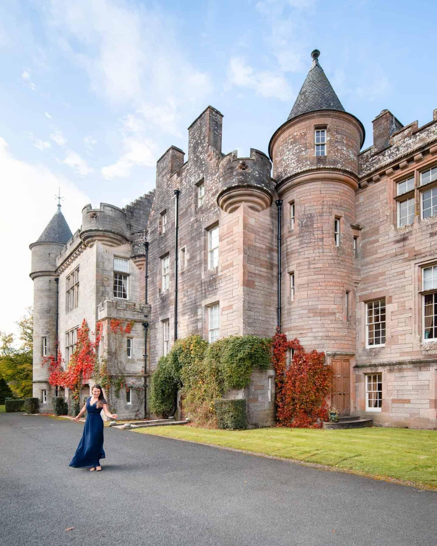 Travels of Sophie dancing in front of Glenapp Castle