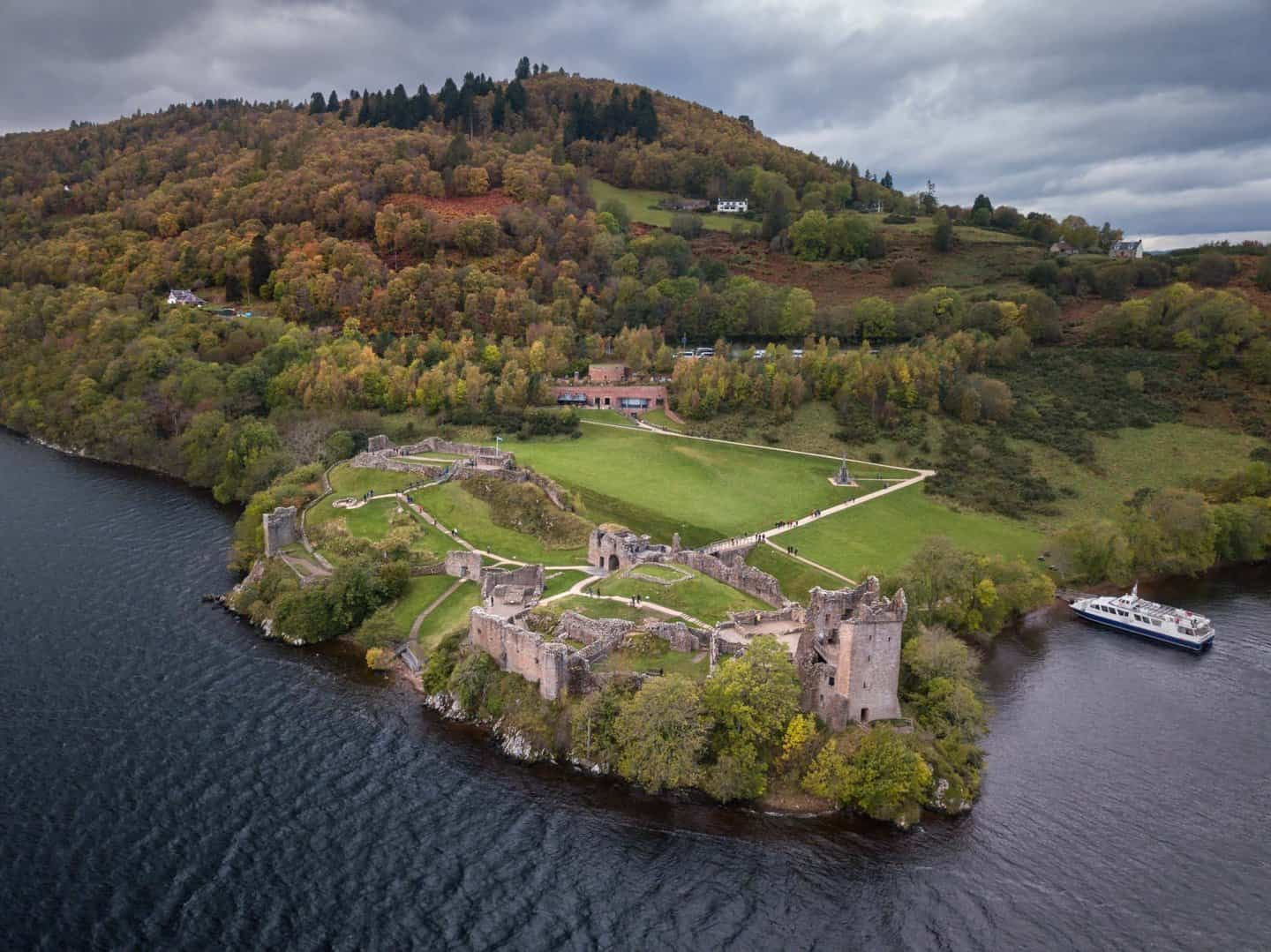 A view of Urquhart Castle on Loch Ness from the water.