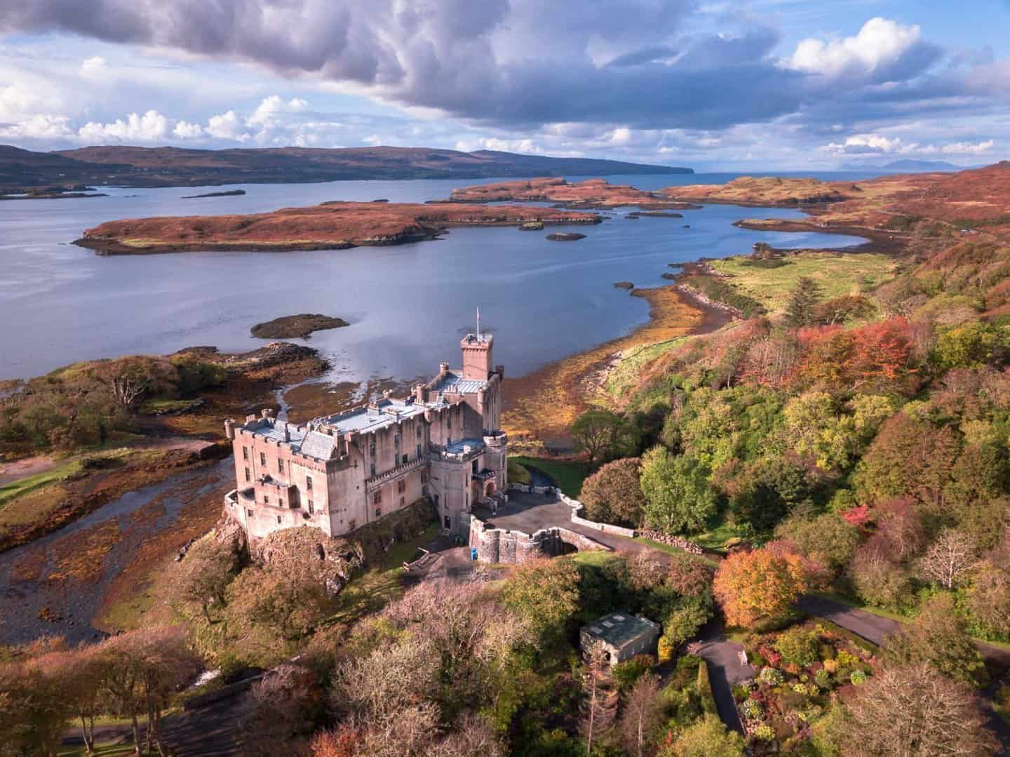 An aerial view of Dunvegan Castle on the Isle of Skye in Scotland.